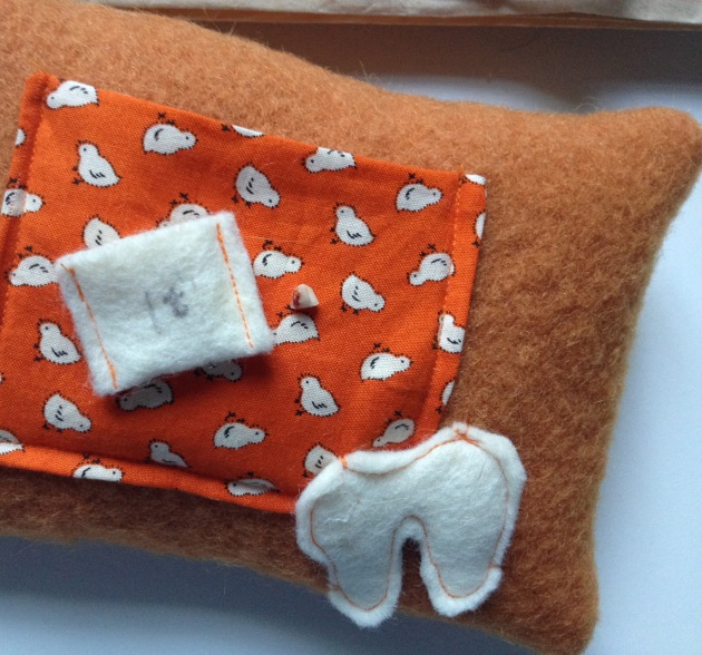 Tooth Fair Pillow made with recycled wool felt.
